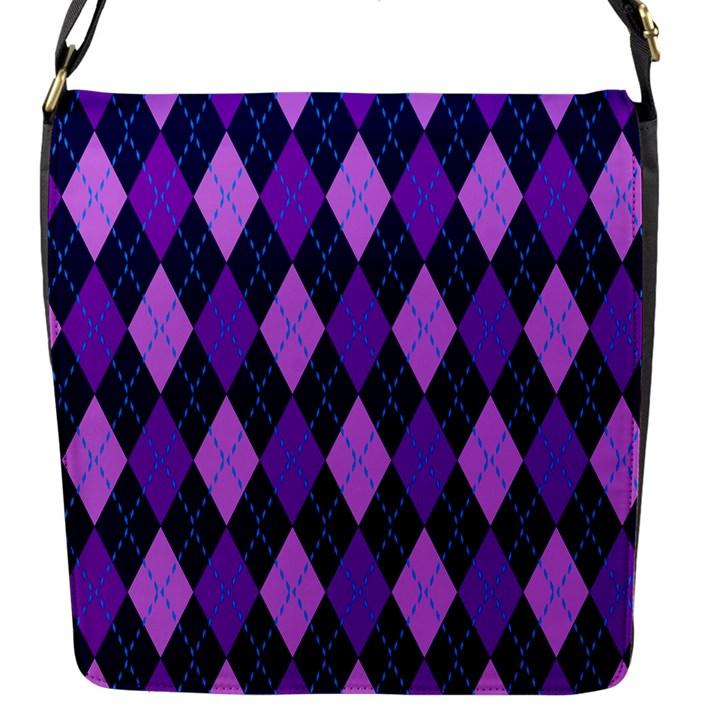 Static Argyle Pattern Blue Purple Flap Messenger Bag (S)