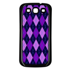 Static Argyle Pattern Blue Purple Samsung Galaxy S3 Back Case (black)
