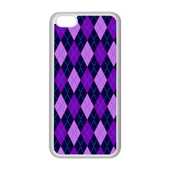 Static Argyle Pattern Blue Purple Apple Iphone 5c Seamless Case (white)