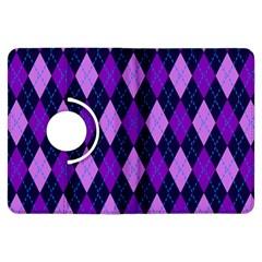 Static Argyle Pattern Blue Purple Kindle Fire HDX Flip 360 Case