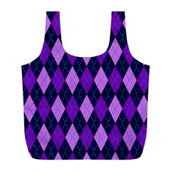 Static Argyle Pattern Blue Purple Full Print Recycle Bags (l)