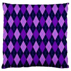 Static Argyle Pattern Blue Purple Large Flano Cushion Case (one Side)