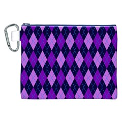 Static Argyle Pattern Blue Purple Canvas Cosmetic Bag (XXL)