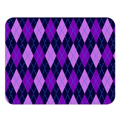 Static Argyle Pattern Blue Purple Double Sided Flano Blanket (Large)