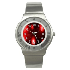Box Lights Red Plaid Stainless Steel Watch