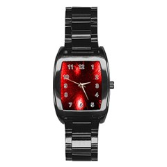 Box Lights Red Plaid Stainless Steel Barrel Watch