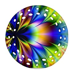 Bright Flower Fractal Star Floral Rainbow Round Filigree Ornament (Two Sides)
