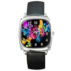 Abstract Patterns Lines Colors Flowers Floral Butterfly Square Metal Watch