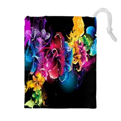 Abstract Patterns Lines Colors Flowers Floral Butterfly Drawstring Pouches (extra Large)
