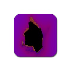Buffalo Fractal Black Purple Space Rubber Square Coaster (4 pack)