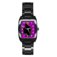 Buffalo Fractal Black Purple Space Stainless Steel Barrel Watch