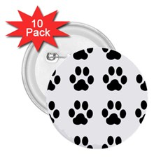 Claw Black Foot Chat Paw Animals 2.25  Buttons (10 pack)