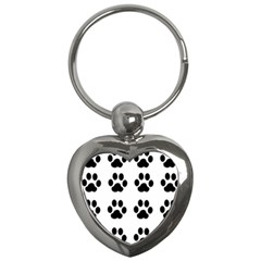 Claw Black Foot Chat Paw Animals Key Chains (Heart)