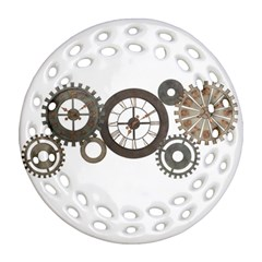 Hour Time Iron Round Filigree Ornament (Two Sides)