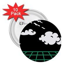Illustration Cloud Line White Green Black Spot Polka 2 25  Buttons (10 Pack)