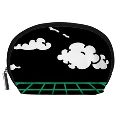 Illustration Cloud Line White Green Black Spot Polka Accessory Pouches (Large)