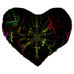 Inner Peace Star Space Rainbow Large 19  Premium Flano Heart Shape Cushions