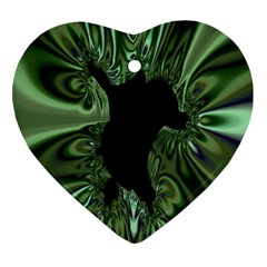 Hole Space Silver Black Heart Ornament (Two Sides)