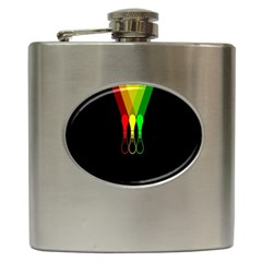 Lamp Colors Green Yellow Red Black Hip Flask (6 oz)