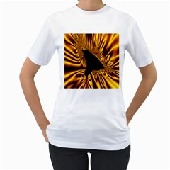 Hole Gold Black Space Women s T-Shirt (White) (Two Sided)