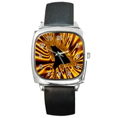 Hole Gold Black Space Square Metal Watch