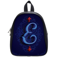 Marquis Love Dope Lettering Blue Red Alphabet E School Bags (Small)