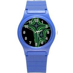 Line Light Star Green Black Space Round Plastic Sport Watch (S)