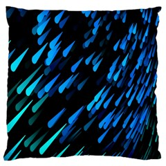 Meteor Rain Water Blue Sky Black Green Large Cushion Case (two Sides)