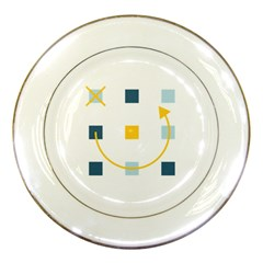 Plaid Arrow Yellow Blue Key Porcelain Plates