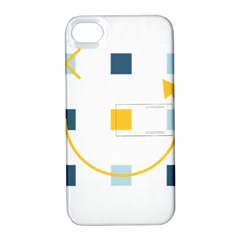 Plaid Arrow Yellow Blue Key Apple iPhone 4/4S Hardshell Case with Stand