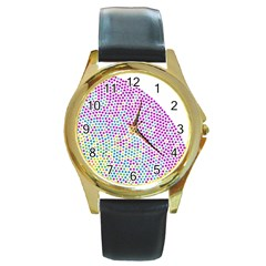 Japanese Name Circle Purple Yellow Green Red Blue Color Rainbow Round Gold Metal Watch