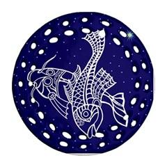 Pisces Zodiac Star Ornament (Round Filigree)