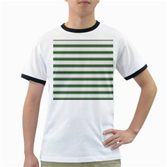 Plaid Line Green Line Horizontal Ringer T-Shirts