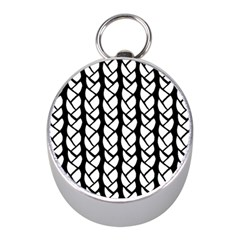 Ropes White Black Line Mini Silver Compasses