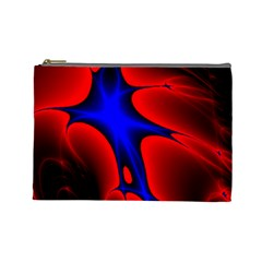 Space Red Blue Black Line Light Cosmetic Bag (Large)