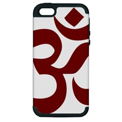 Hindu Om Symbol (Dark Red) Apple iPhone 5 Hardshell Case (PC+Silicone)
