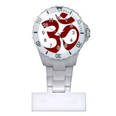 Hindu Om Symbol (Dark Red) Plastic Nurses Watch