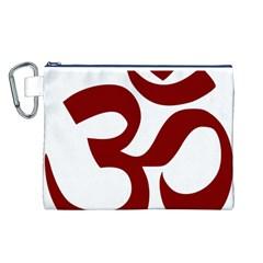Hindu Om Symbol (Dark Red) Canvas Cosmetic Bag (L)