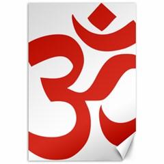Hindu Om Symbol (Red) Canvas 12  x 18