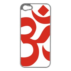 Hindu Om Symbol (Red) Apple iPhone 5 Case (Silver)