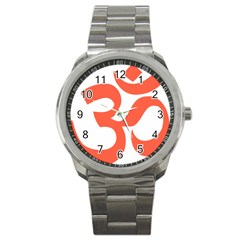 Hindu Om Symbol (Peach) Sport Metal Watch
