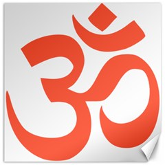 Hindu Om Symbol (peach) Canvas 16  X 16