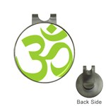 Hindu Om Symbol (Lime Green) Hat Clips with Golf Markers Front