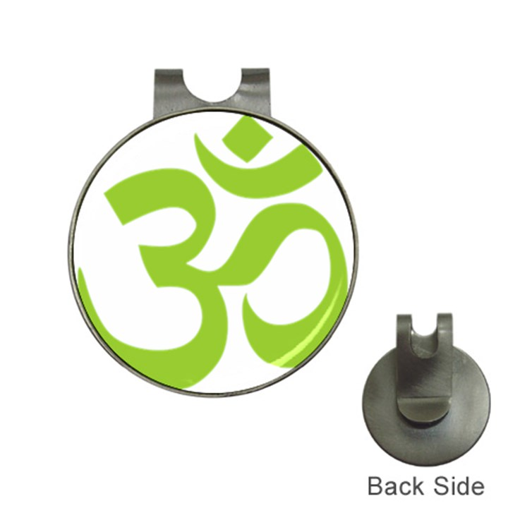 Hindu Om Symbol (Lime Green) Hat Clips with Golf Markers