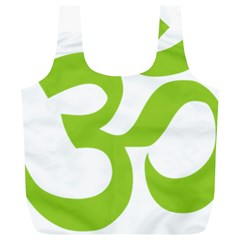 Hindu Om Symbol (Lime Green) Full Print Recycle Bags (L)
