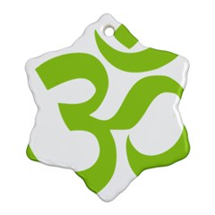 Hindu Om Symbol (lime Green) Snowflake Ornament (two Sides)