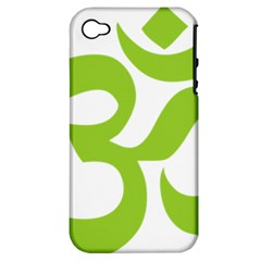 Hindu Om Symbol (lime Green) Apple Iphone 4/4s Hardshell Case (pc+silicone)