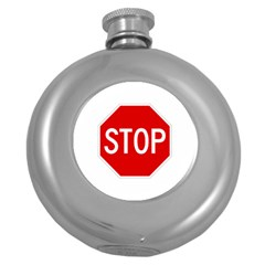 Stop Sign Round Hip Flask (5 Oz)