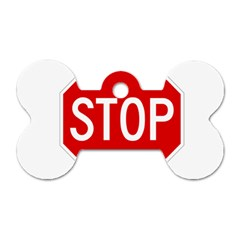 Stop sign Dog Tag Bone (Two Sides)