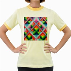 Rainbow Chem Trails Women s Fitted Ringer T Shirts